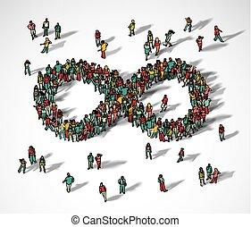 无限, 符号, 人群, 大, 团体, 人们。