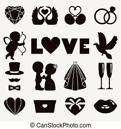 日々, イラスト, バレンタイン, ベクトル, 結婚式, 幸せ