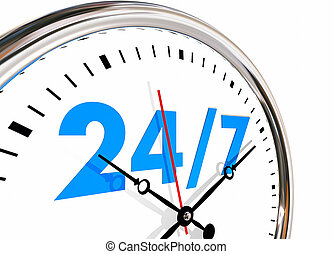 日々, 数, 何時間も, 週, 時計, 7, 24, イラスト, 3d