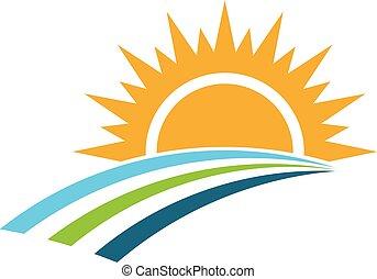 日の出, そして, フィールド, ロゴ, design., ベクトル, 写実的な 設計