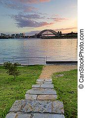 日の出, の後ろ, シドニー 港 橋, から, balmain