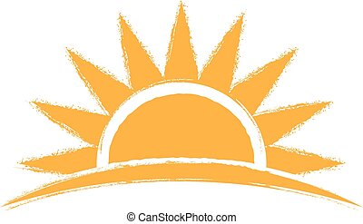 日の出, ベクトル, 手, 引かれる, logo., イラスト, グラフィック