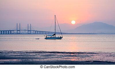 日の出, ボート, 光景