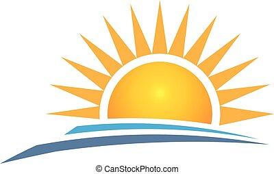 日の出, ロゴ, design., ベクトル, 写実的な 設計