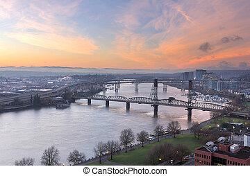 日の出, 上に, 川, ポートランド, willamette