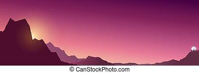 日の出, 旗, 山