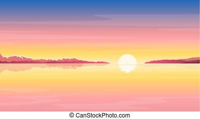日の出, 海, 背景, 自然