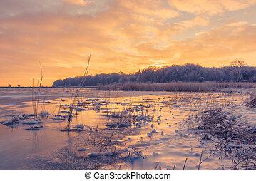 日の出, 湖, 氷