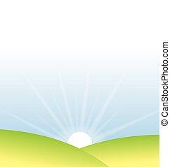 日の出, 牧草地, ベクトル, 柔らかい, 上に