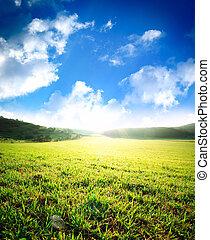 日の出, 緑の採草地, 海原