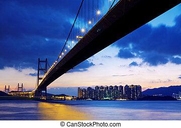日の出, hongkong, 上に, 橋, 長い間