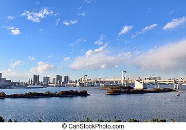 日中, 風景, の, 虹, bridge.