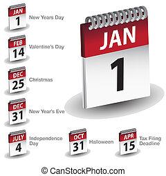日付, カレンダー, 休日, アイコン