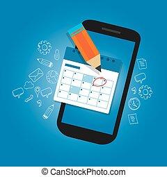 日付, スケジュール, モビール, 印, 重要, 計画, 時間, 装置, カレンダー, smart-phone, メモ,...