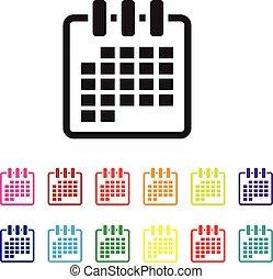日付, セット, 組織化する, アイコン