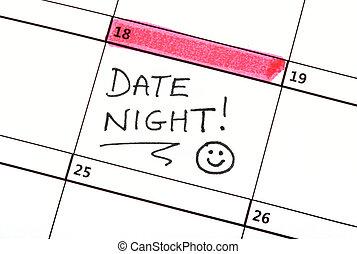 日付, 書かれた, カレンダー, 夜