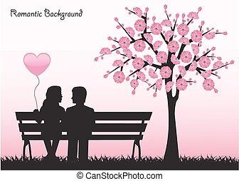 日付, 桜の木, 下に