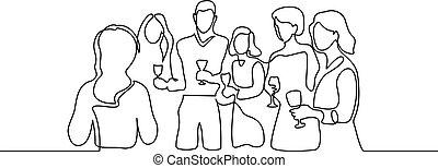 日付, 祝う, 会社, wineglass, 人々
