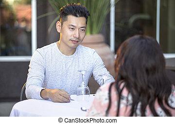 日付, interracial, 人, アジア人, ハンサム