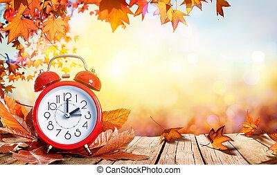 日光, 節約, 時間, 概念, -, 時計, そして, 葉, 上に, 木製のテーブル