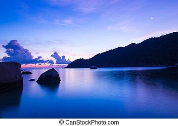 日出, 在海滩上, 带, 美丽, 天空