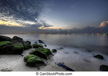日出, 在, 东海岸, 海滩, 2