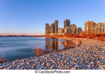 日出, 在, sheldon, 提防, 多倫多, 安大略, 加拿大