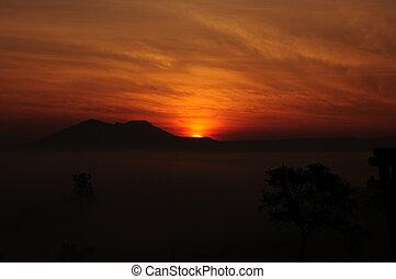 日出, 天空, 在上方, 云霧