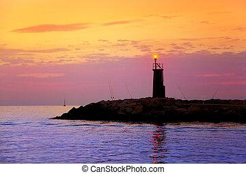 日出, 灯塔, 发光, 在中, 蓝色, 紫色, 海