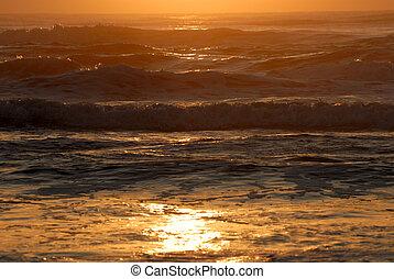 日出, 结束, 大海