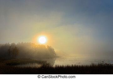 日出, 结束, 湖