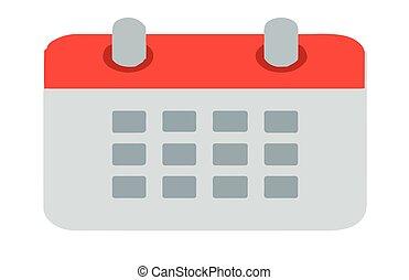 日历, 白的背景, 图标