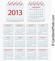 日历, 矢量, 2013