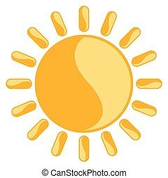 日当たりが良い, アイコン, 隔離された, 天候