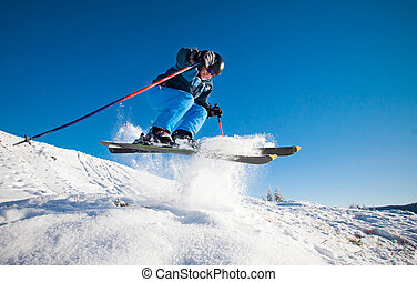 日当たりが良い, スキー, 練習する, 極点, 人