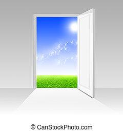 日当たりが良い, ドア, 先導, 世界, 白