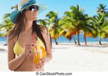 日当たりが良い, 太陽, ビキニ, 帽子, 弛緩, 女, 浜。