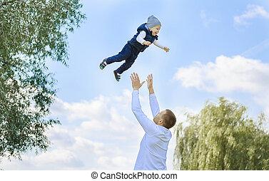 日当たりが良い, 父, 歩きなさい, 息子, 日, 幸せ