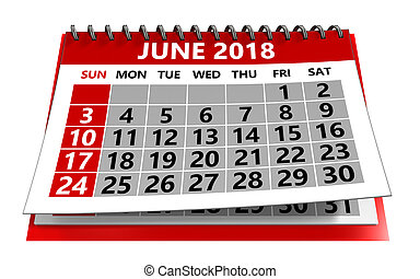 日曆, 六月, 2018