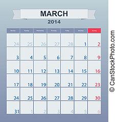 日曆, 到, 時間表, monthly., 3月, 2014