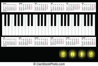 日曆, 2012, 由于, 鋼琴鑰匙