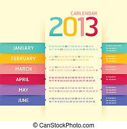 日曆, 2013, 現代, 軟, 顏色