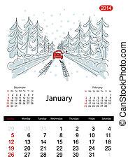 日曆, 2014, january., 街道, ......的, 城市, 略述, 為, 你, 設計