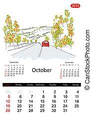 日曆, 2014, october., 街道, ......的, 城市, 略述, 為, 你, 設計