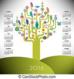 日曆, 2016, 樹, 鮮艷