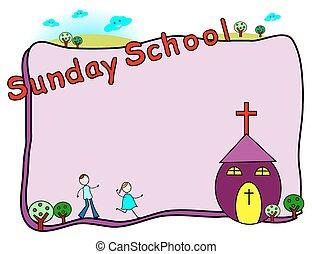 日曜日 学校, フレーム