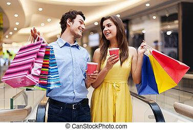 日期, 在, the, 購物中心