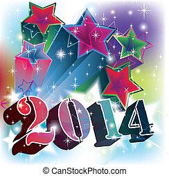 日期, 2014, 爆炸, 星, 年