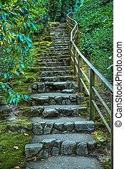 日本的花园, 石头, 楼梯, hdr