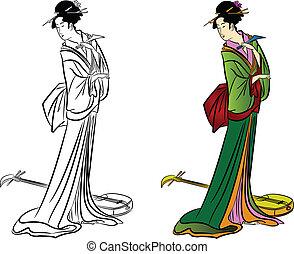 日本語, ベクトル, 女の子, 美しい